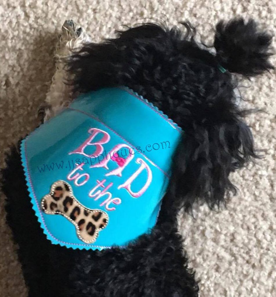 machine embroidery projects for dogs: bad to the bone bandana in-the-hoop