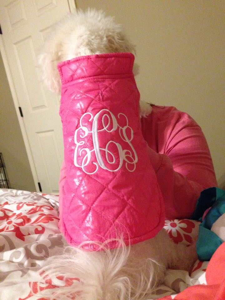 Machine embroidery projects for a dog: monogrammed dog vest