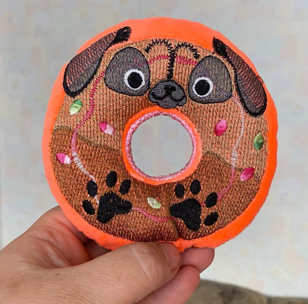 machine embroidery project for a dog: in-the-hoop toy