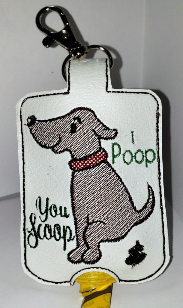 in-the-hoop poop bag dispenser