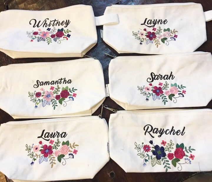 personalized cosmetic bag: bridesmaid gifts to make on your embroidery machine