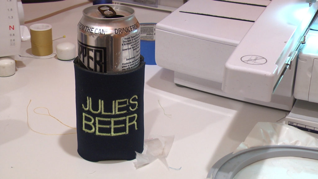 completed can koozie put together in the hoop