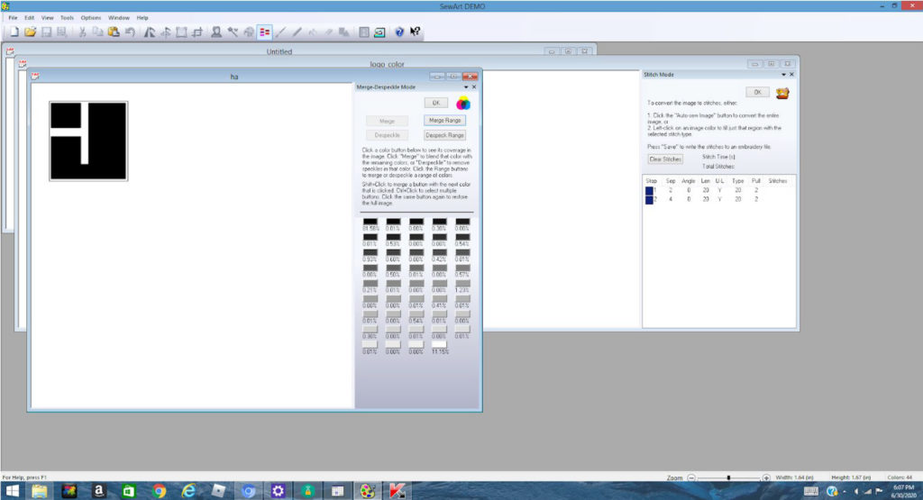 importing a JPEG image into SewArt