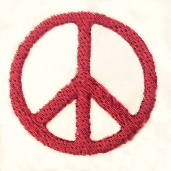 peace sign filled embroidery design