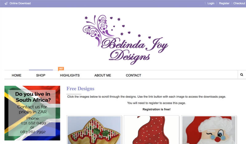 free machine embroidery designs at Belinda Joy Designs