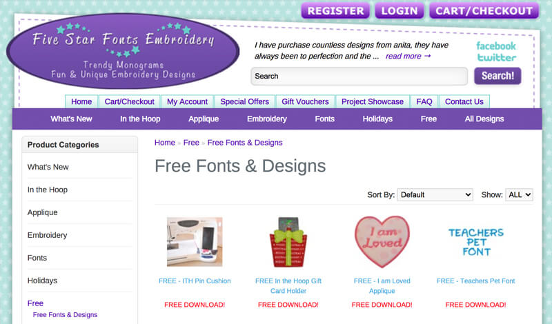 free machine embroidery designs at Five Star Fonts