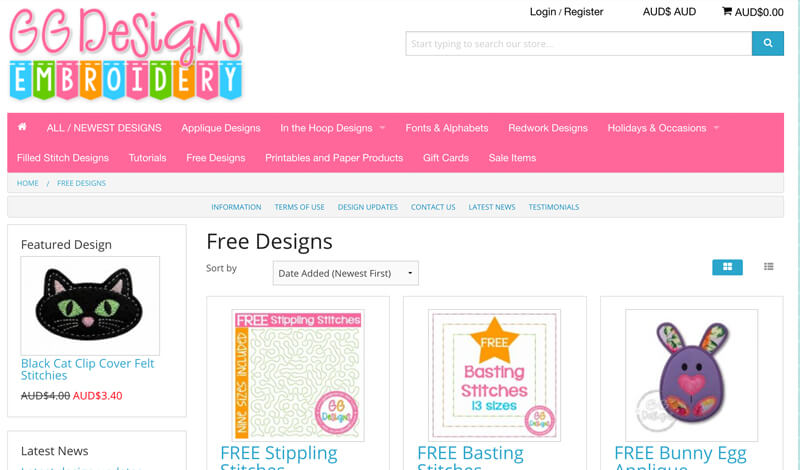free machine embroidery designs at GG Designs