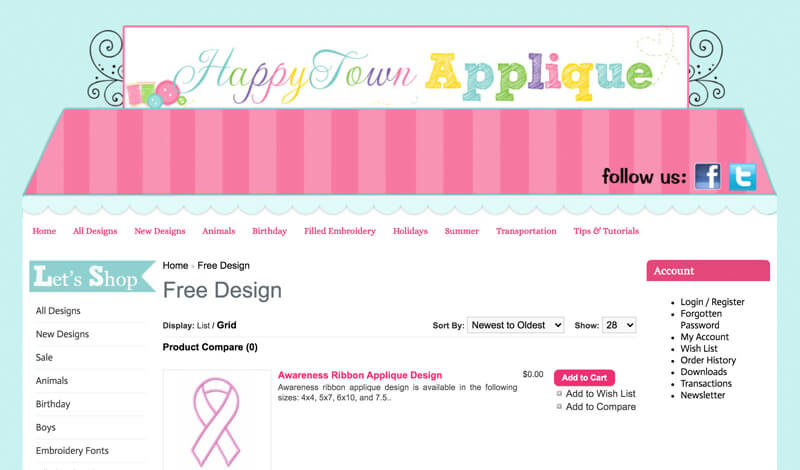 free machine embroidery designs at Happy Town Applique