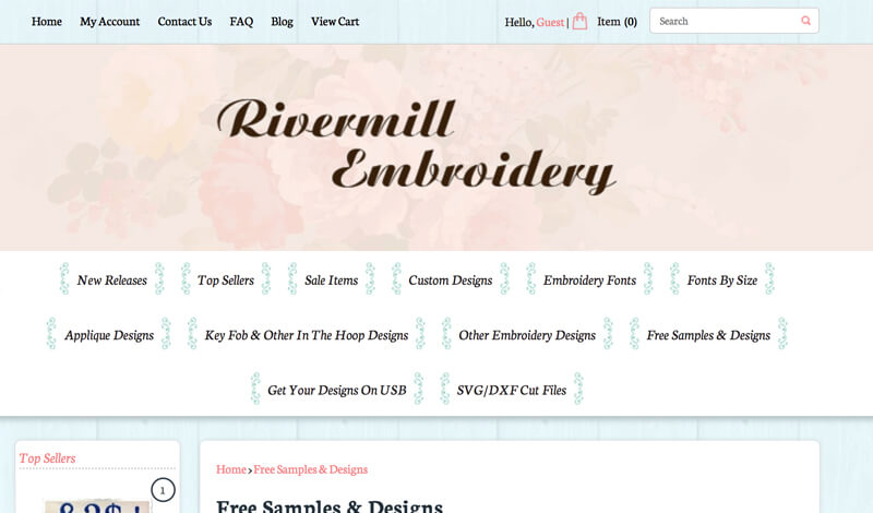 free machine embroidery designs at Rivermill Embroidery