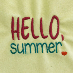 hello summer machine embroidery design