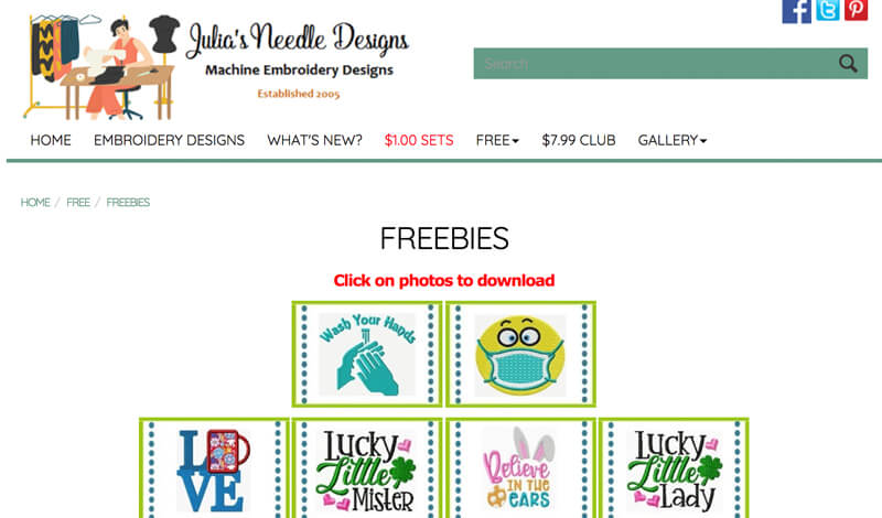 free machine embroidery designs at Julia's Needleworks