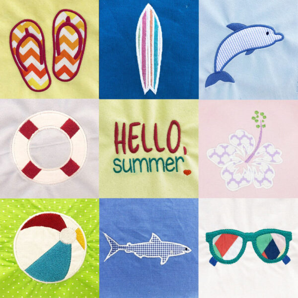 Summer fun machine applique design set