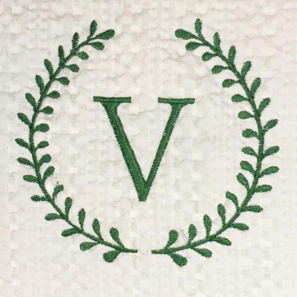 roman wreath single initial monogram