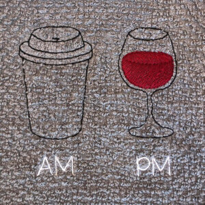AM and PM - coffee and wine machine embroidery design