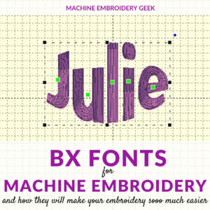 BX fonts for machine embroidery