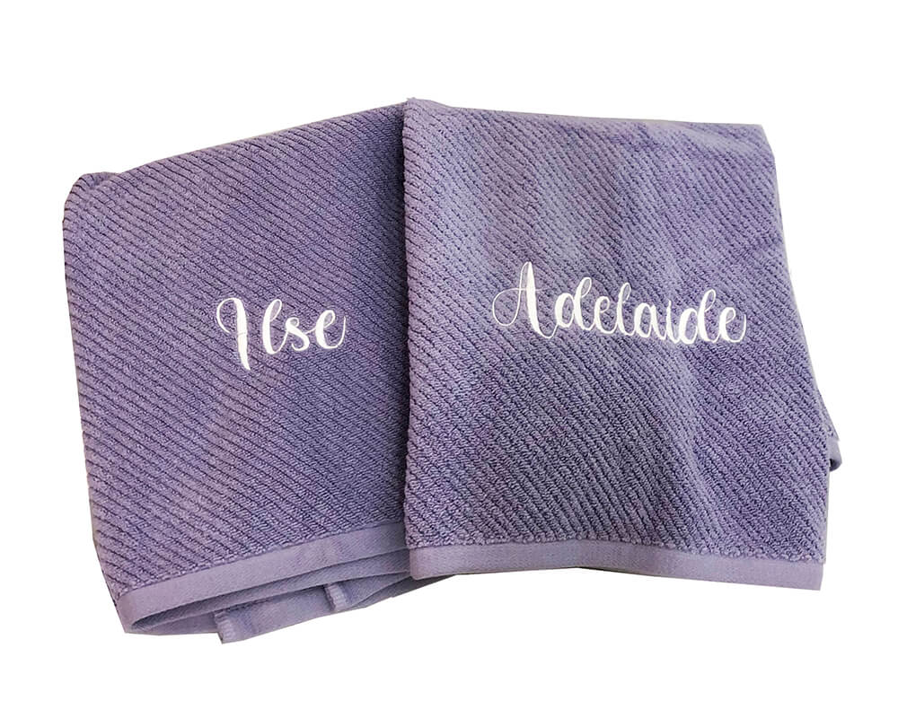 finished embroidered towels