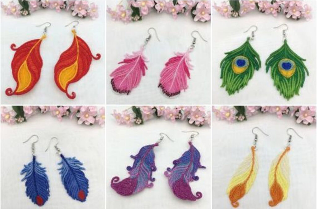 Free standing lace feather earrings