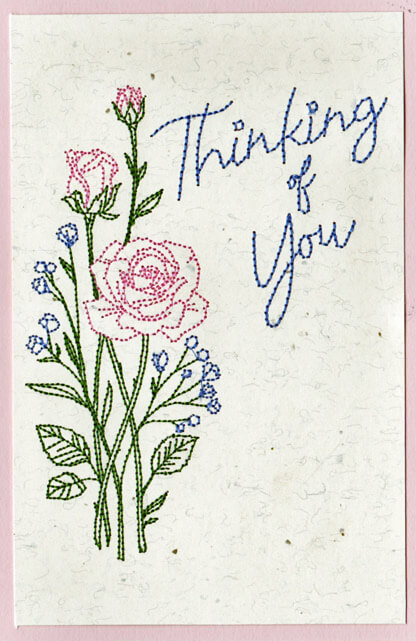 flower machine embroidered on greeting card