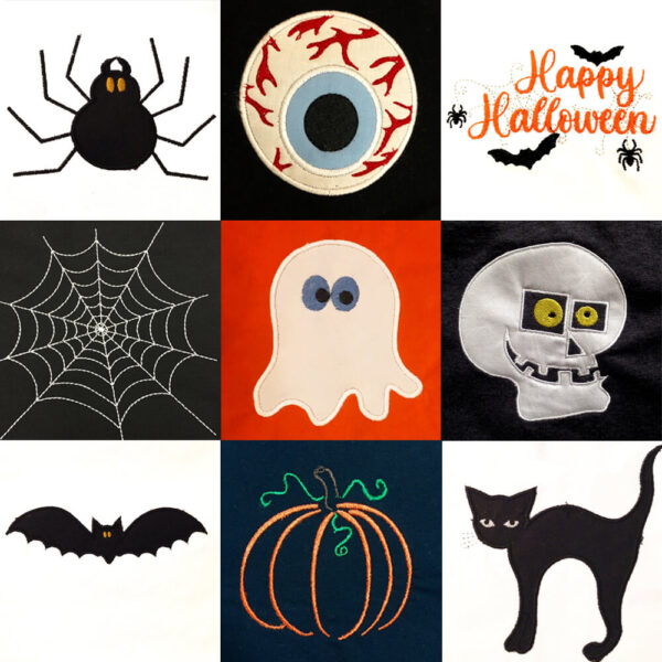 halloween machine embroidery and applique design set