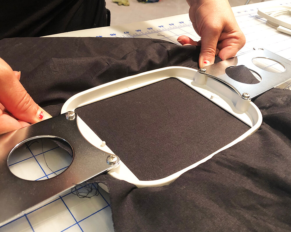 Hooping fabric on the Janome MB-7