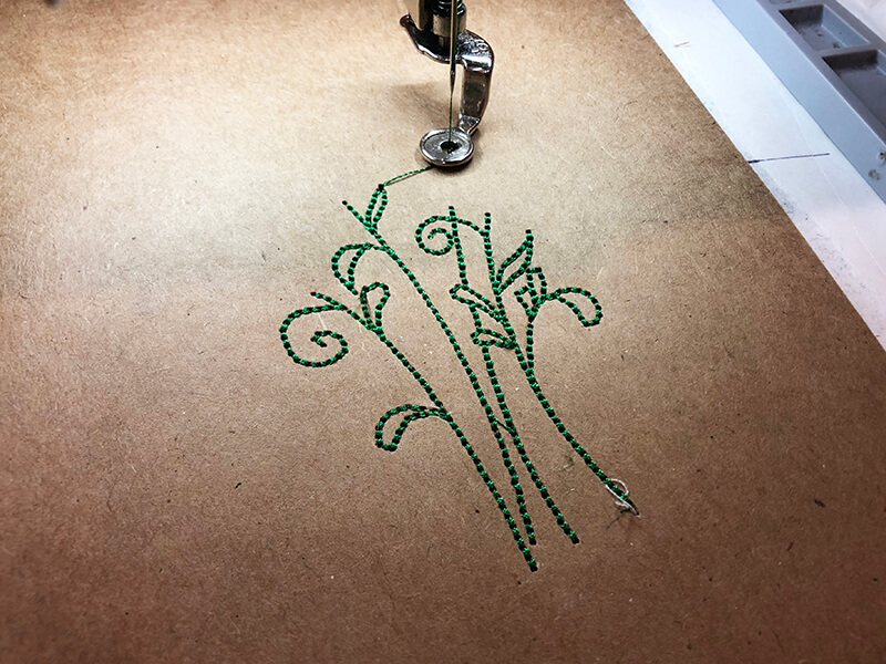 embroidering on a card