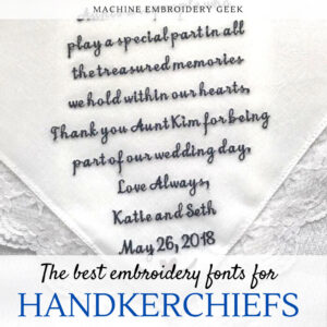 best fonts for embroidering on handkerchiefs