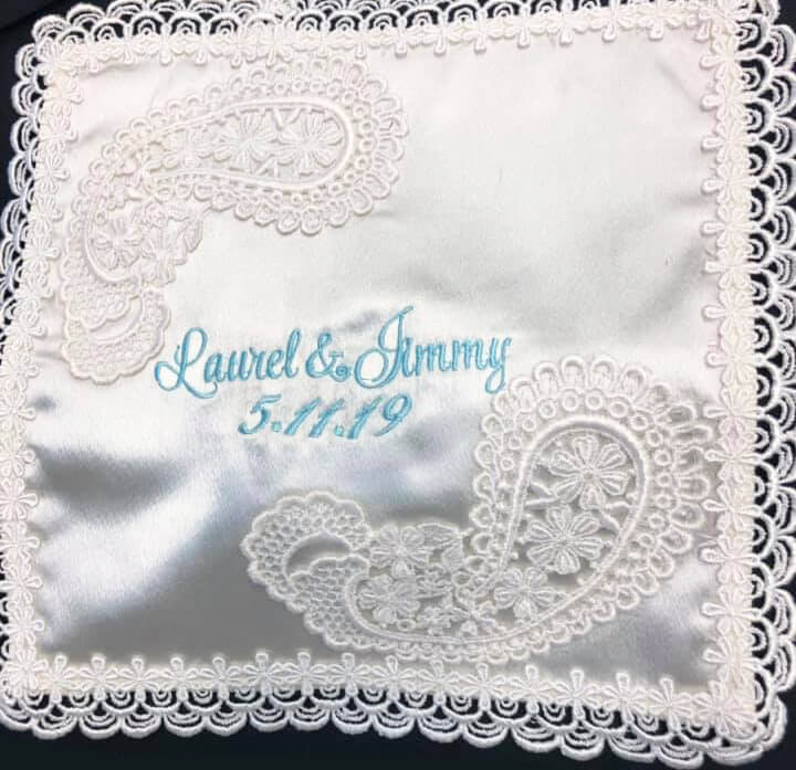embroidered hankie for bride - best embroidery fonts for handkerchiefs