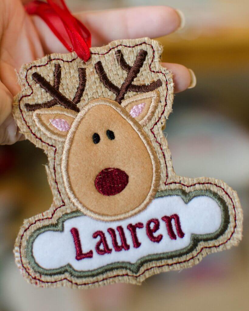 in-the-hoop reindeer design