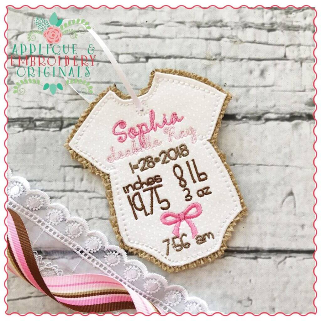 in-the-hoop baby announcement ornament