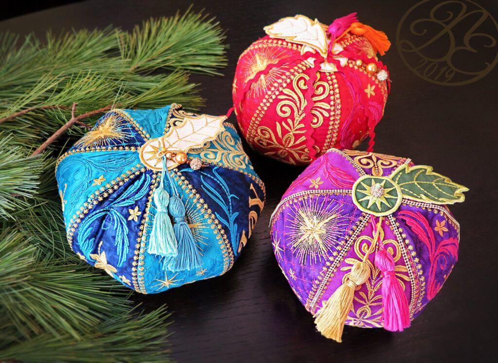 in-the-hoop ornate Christmas balls
