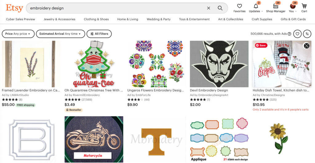 embroidery designs on Etsy