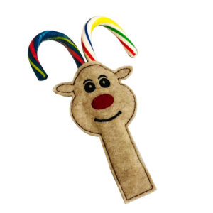 in-the-hoop reindeer candy cane holder