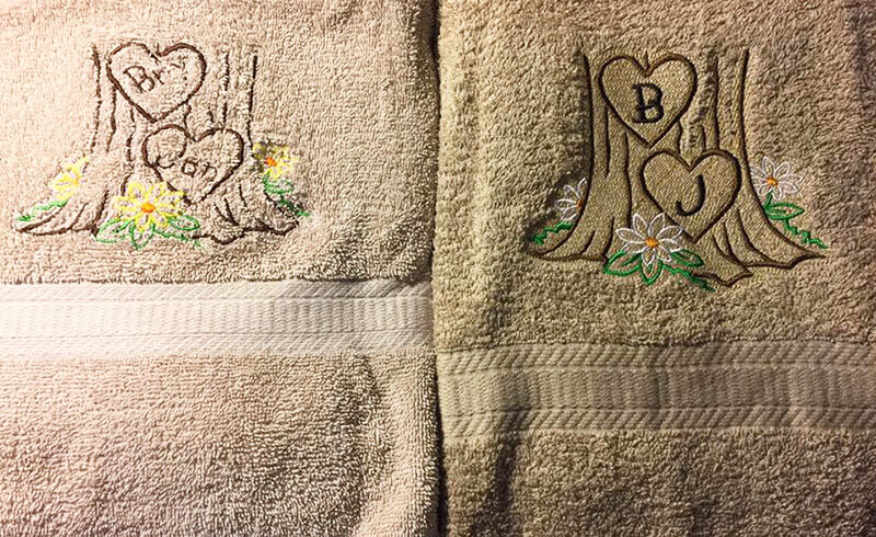 knockdown stitch vs. no knock down stitch in machine embroidery on towels