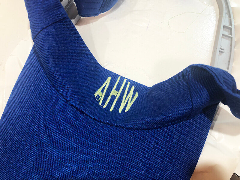 how to embroider on a visor: stitching complete!