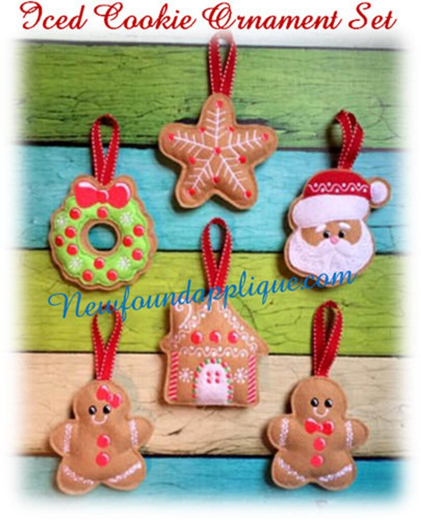 iced cookie in-the-hoop ornaments from new found applique