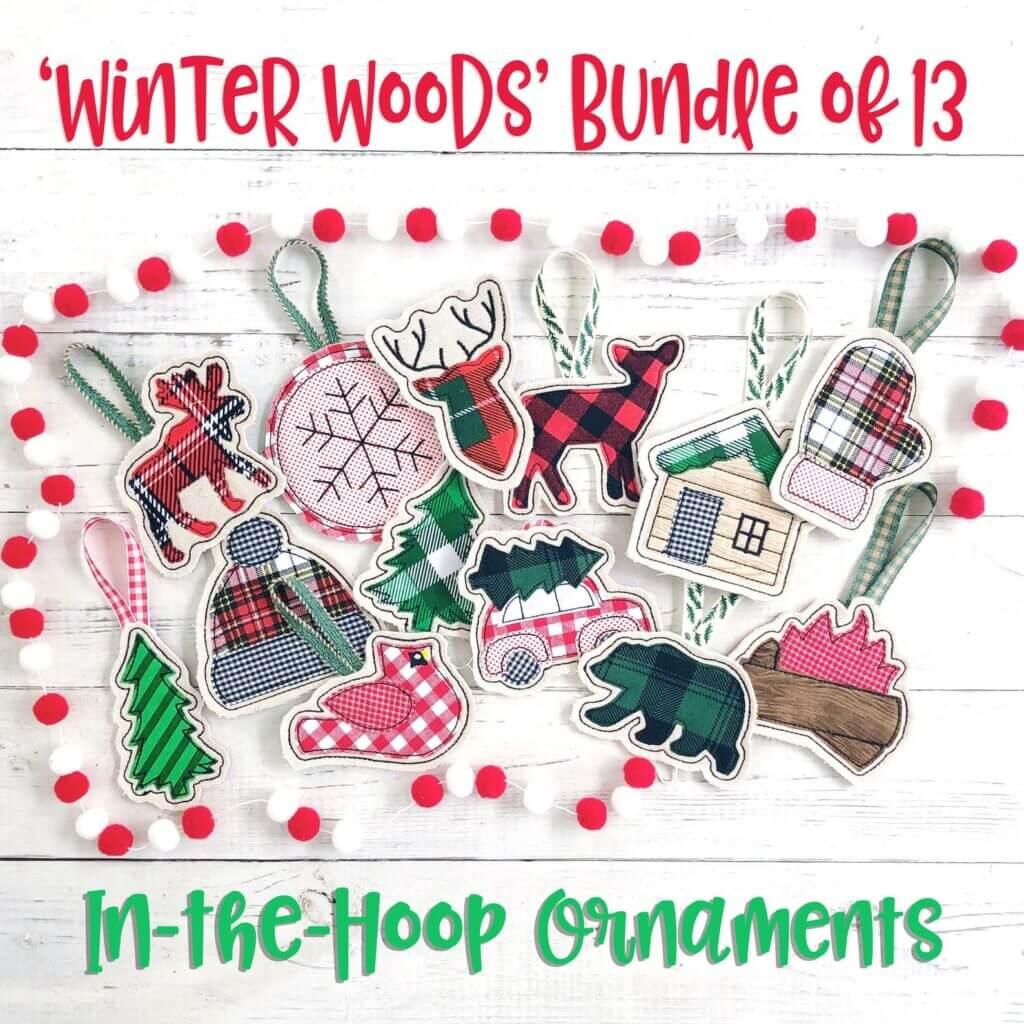 winter woods bundle of in-the-hoop ornaments