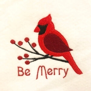 """Cardinal """"Be Merry"""" Machine Embroidery Design"""