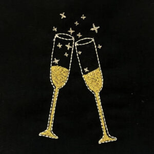 clinking champagne glasses machine embroidery design
