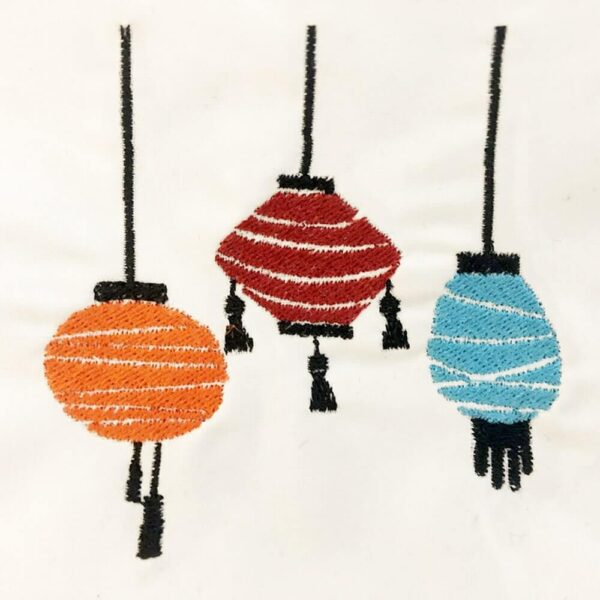 Chinese lanterns machine embroidery design