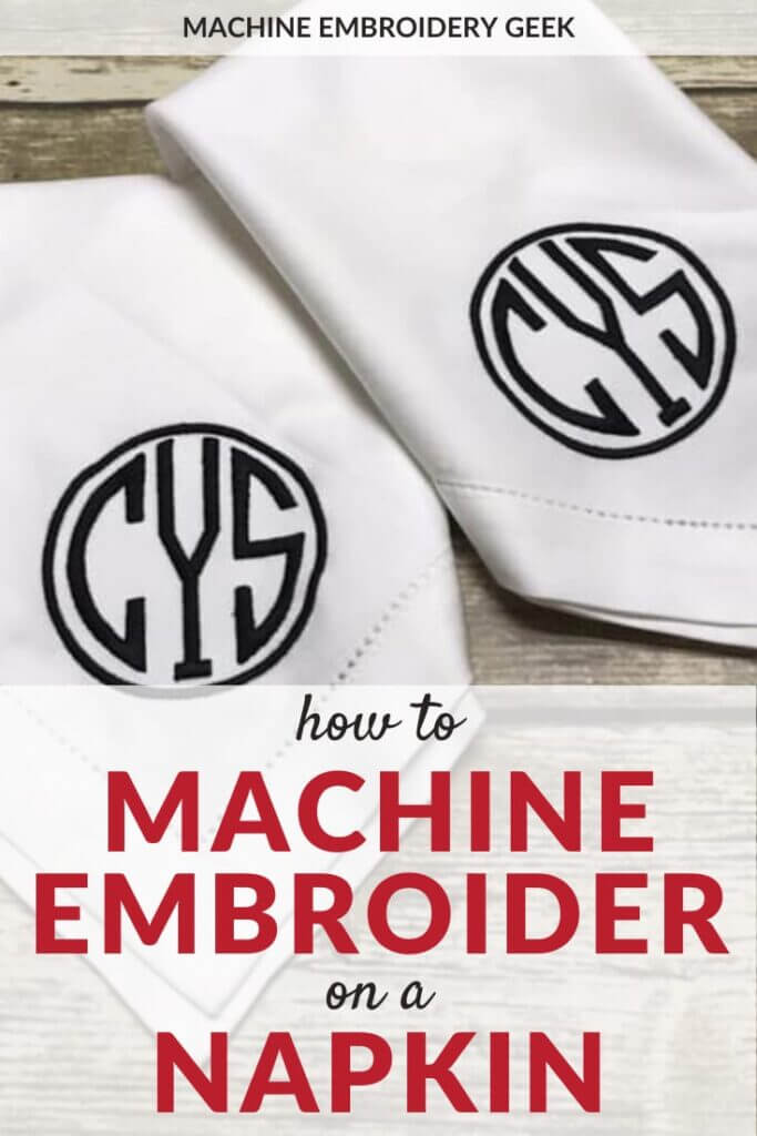 how to machine embroider on a napkin