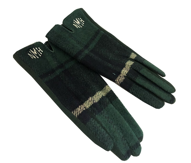 finished monogrammed gloves