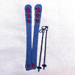 retro skis machin embroidery design