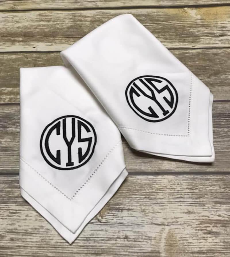 elegant monogrammed napkins