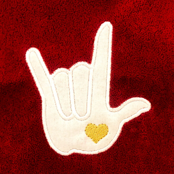 I love you in sign language appliqué