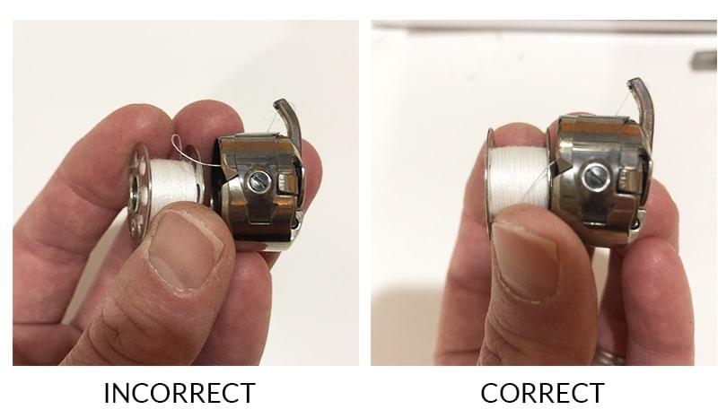 proper orientation of bobbin in case