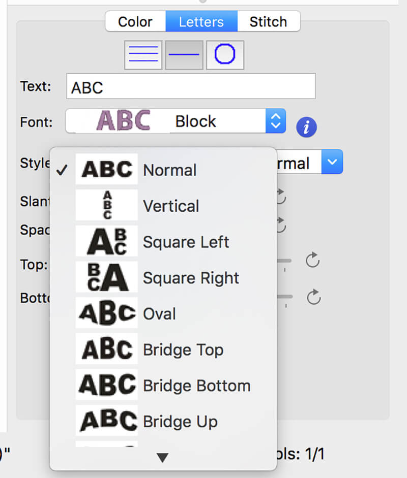 modifying letters for monogram in Embrilliance