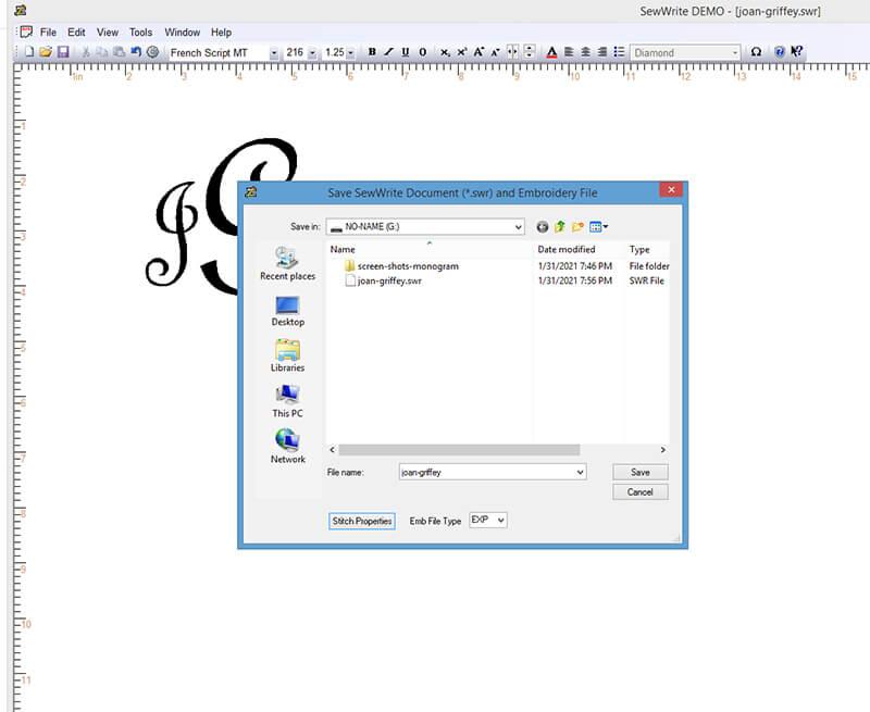 SewWrite saving monogram as embroidery file