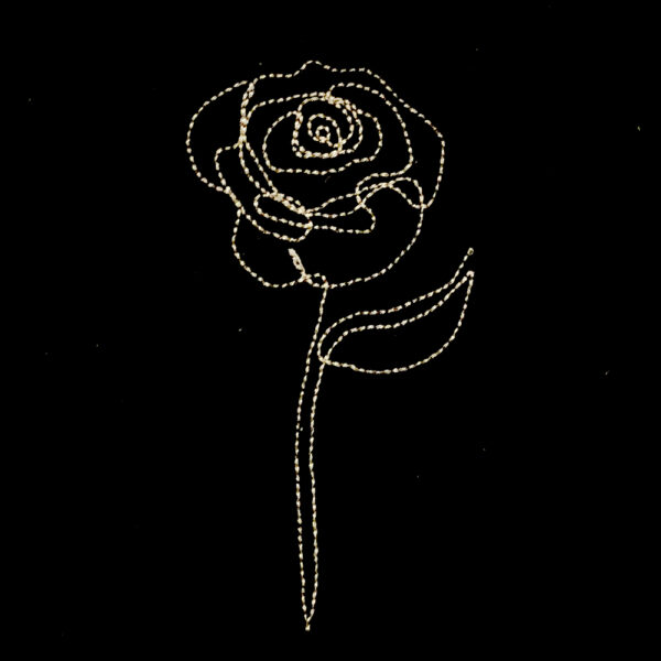 single line rose sketch machine embroidery design