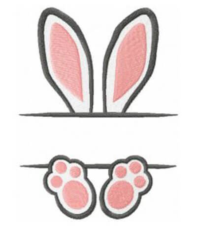 bunny ears name frame free machine embroidery design