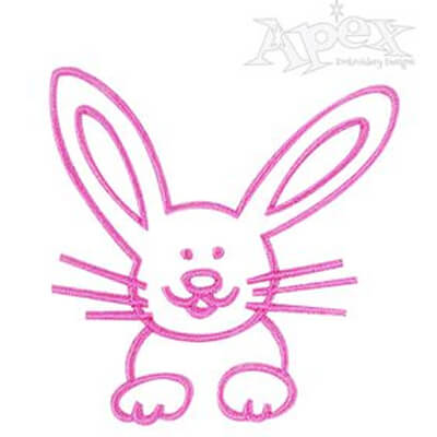 funny bunny embroidery design
